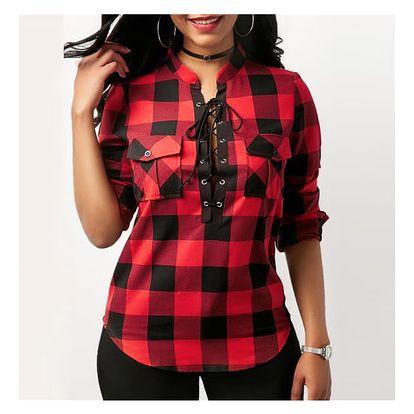 Dámská kostkovaná košile v plus size velikostech - 4 barvy