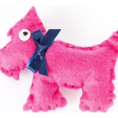 Fashion Icon Brož pes tkanina HAND MADE ruční práce šedý