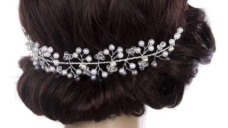 Svatební ozdoba do vlasů - čelenka krystalky a perly do vlasů