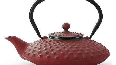 Červená litinová konvice se sítkem na sypaný čaj Bredemeijer Xilin, 800ml