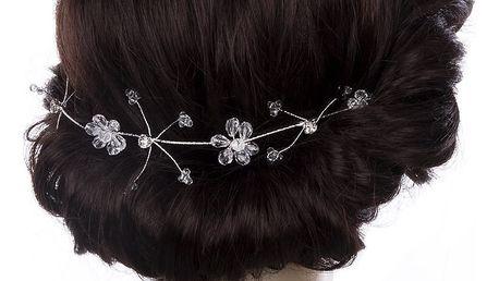 Svatební ozdoba do vlasů - čelenka Crystal Flowers krystalky do vlasů