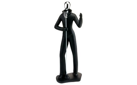 Socha zpěvák černo-stříbrná