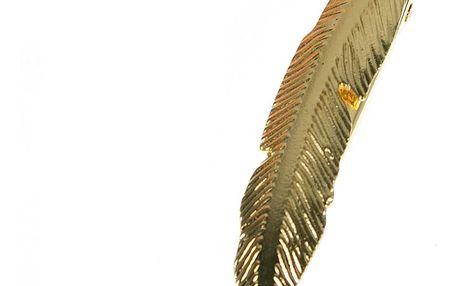 Fashion Icon Spona do vlasů peří zlaté a stříbrné