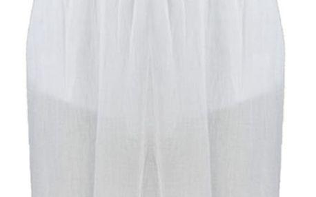 Dlouhé dámské letní šaty nad prsa s krajkové volánky 1101