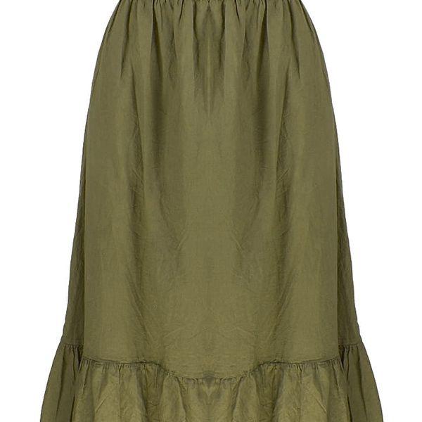Dlouhé dámské letní šaty nad prsa s krajkové volánky 0810