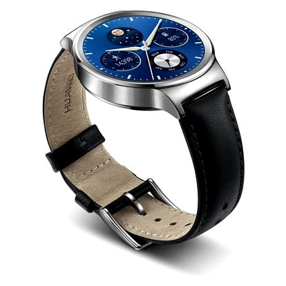 Chytré hodinky Huawei Watch W1 Stainless Steel + Black Leather (WA-WATCHW1SOM)