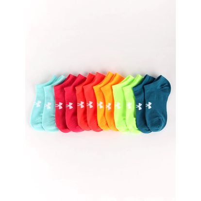 Ponožky Under Armour Girls Solid 6 Pack Noshow Barevná