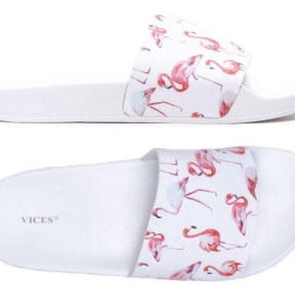 Dámské bílé pantofle Flamingo 107