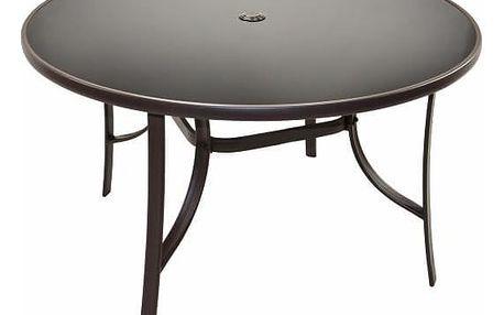 Garthen Bistro 31934 Zahradní stůl se skleněnou deskou, 120 cm kulatý