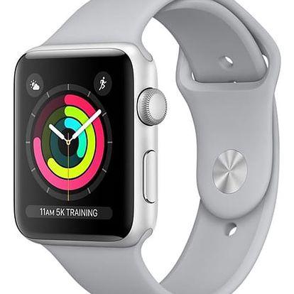 Chytré hodinky Apple Watch Series 3 GPS 38mm pouzdro ze stříbrného hliníku - mlhově šedý sportovní řemínek (MQKU2CN/A) + DOPRAVA ZDARMA