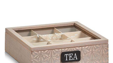 Dřevěný box na čaj, 9 přihrádek, ZELLER