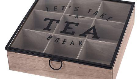 EH Excellent Houseware Dřevěný box na čaj, 9 přihrádek