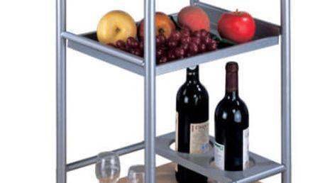Servírovací stolek LIMA, buk/stříbrný