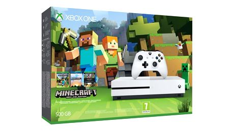 Herní konzole Microsoft Xbox One S 500 GB + sada Minecraft bílá (ZQ9-00047)