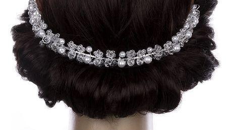Svatební ozdoba do vlasů - čelenka Wedding krystalky a perly do vlasů