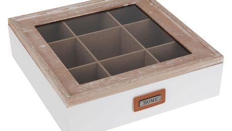 Emako Dřevěný box na čaj HOME - 9 přihrádek