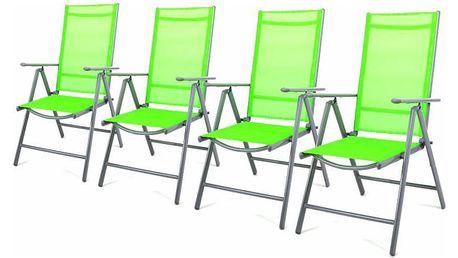 Garthen 27152 Sada 4 hliníkových skládacích židlí - zelená