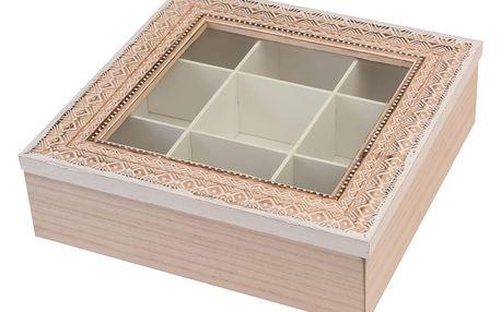 EH Excellent Houseware Dřevěný box na čaj 9 přihrádek