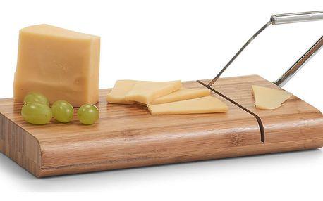 Deska s gilotinovým nožem na krájení sýra, - bambus, nerezová ocel, ZELLER