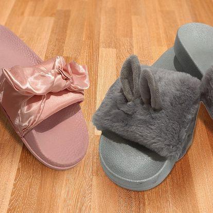 Dámské pantofle s mašlí nebo chlupaté s ušima