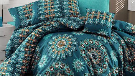 Tyrkysové povlečení s prostěradlem na dvoulůžko Hula Turquoise, 200x220cm