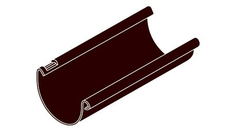 Okapový žlab RG 75 půlkulatý hnědá barva 3m