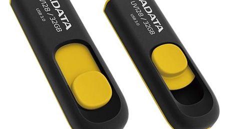 USB Flash ADATA DashDrive UV128 32GB černý/žlutý (AUV128-32G-RBY)