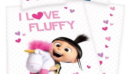 Herding Dětské bavlněné povlečení Mimoni Agnes - I love Fluffy, 140 x 200 cm, 70 x 90 cm
