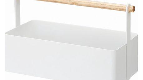 Bílý multifunkční box s detailem z bukového dřeva YAMAZAKI Tosca Tool Box, délka29cm