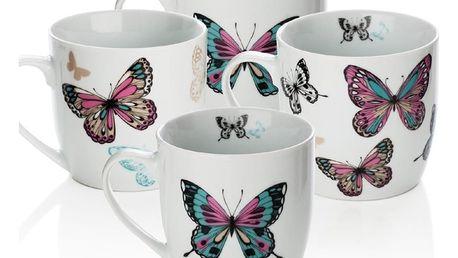 Sada 4 porcelánových hrnků Sabichi Mariposa, 350 ml