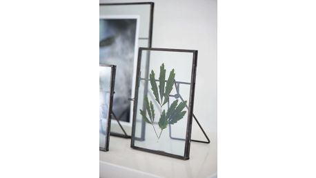 IB LAURSEN Skleněný fotorámeček s opěrkou, šedá barva, čirá barva, sklo, kov