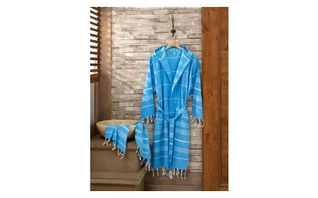 Set modrého županu a ručníku Sultan, vel. S/M