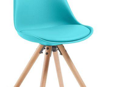 Sada 4 tyrkysových jídelních židlí s dřevěným podnožím La Forma Lars