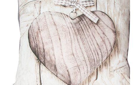 Polštář Graham & Brown Wooden Heart,50x50cm