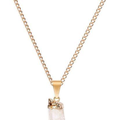 DECADORN Řetízek s přívěskem Mini Raw Point Clear Quartz/Gold, zlatá barva, čirá barva, kov, kámen