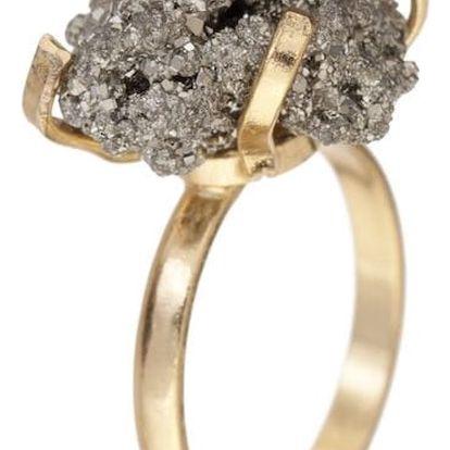 DECADORN Prsten Cluster Pyrite/Gold Medium, šedá barva, zlatá barva, stříbrná barva, kov, kámen