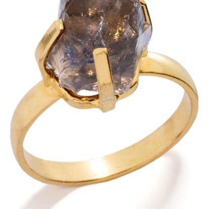 DECADORN Prsten Mini Smokey Quartz/Gold Průměr 1,9 cm, šedá barva, hnědá barva, zlatá barva, kámen
