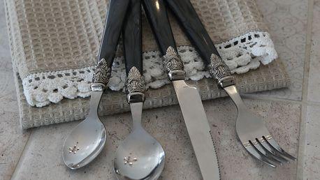 Chic Antique Sada příborů Silver deco - 16 ks, šedá barva, kov, plast