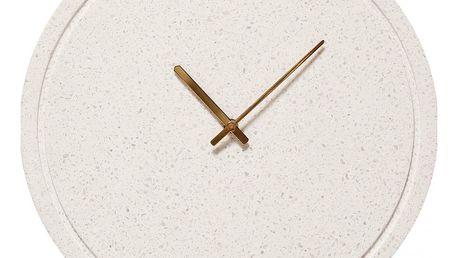 Hübsch Nástěnné hodiny White Terrazzo, bílá barva, mramor