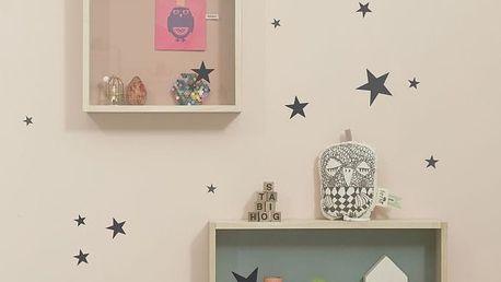 ferm LIVING Interiérové samolepky Black Star, černá barva, papír