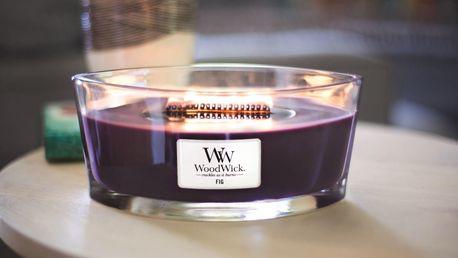 WoodWick Vonná svíčka WoodWick - Fíky 454gr, fialová barva, sklo