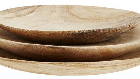 MADAM STOLTZ Dřevěné talíře Wood - set 3 ks, hnědá barva, dřevo