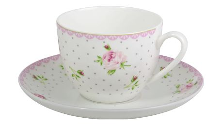 IB LAURSEN Šálek s podšálkem Cottage rose, růžová barva, porcelán