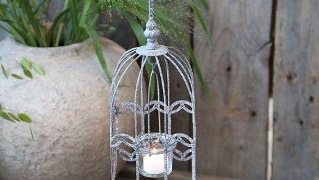 Chic Antique Závěsný svícen Birdcage, šedá barva, zinek