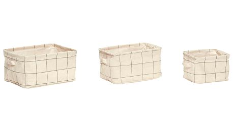 Hübsch Úložné košíky Squares - set 3ks, krémová barva, textil