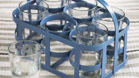 Garden Trading Nosič na skleničky Dorset Blue + 6 skleniček, modrá barva, čirá barva, sklo, kov
