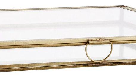 MADAM STOLTZ Skleněný box Antique Brass 31x31, zlatá barva, sklo, kov