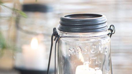 IB LAURSEN Skleněná lucerna Mason, šedá barva, čirá barva, sklo, kov