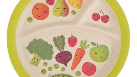 sass & belle Bambusový talířek Happy Fruits & Veg, zelená barva