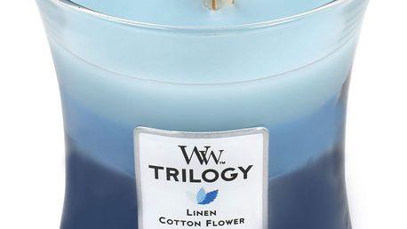 WoodWick Vonná svíčka WoodWick Trilogy Květiny a kašmír 275 g, modrá barva, sklo, vosk